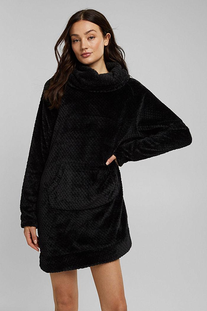Lounge dress made of teddy plush, BLACK, detail image number 1