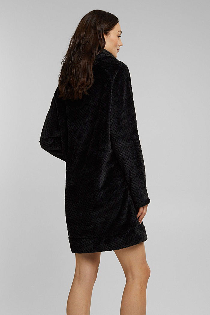 Lounge dress made of teddy plush, BLACK, detail image number 2