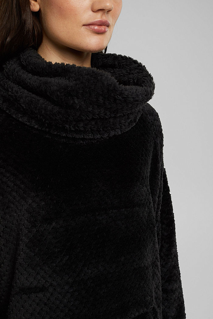 Lounge dress made of teddy plush, BLACK, detail image number 3