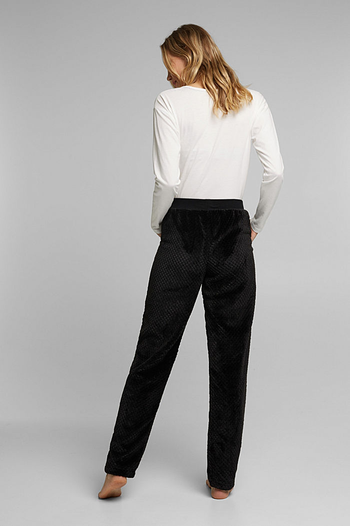 Soft lounge trousers made of textured plush, BLACK, detail image number 3