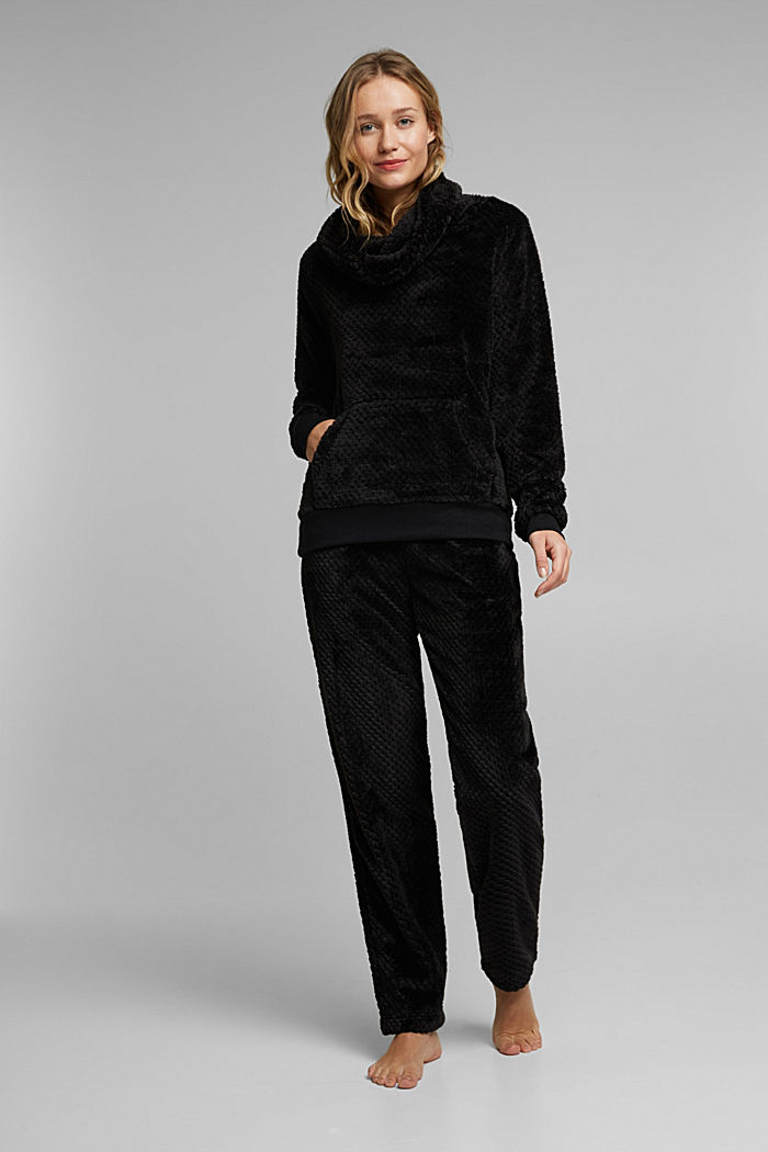 Soft lounge trousers made of textured plush, BLACK, detail image number 1