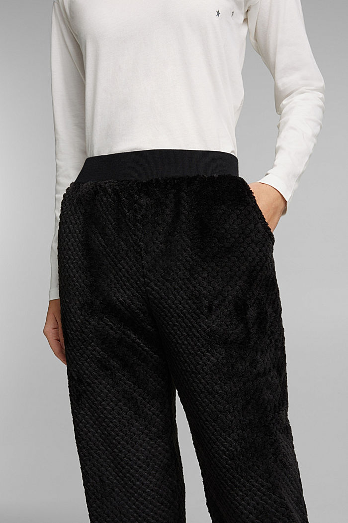 Soft lounge trousers made of textured plush, BLACK, detail image number 2