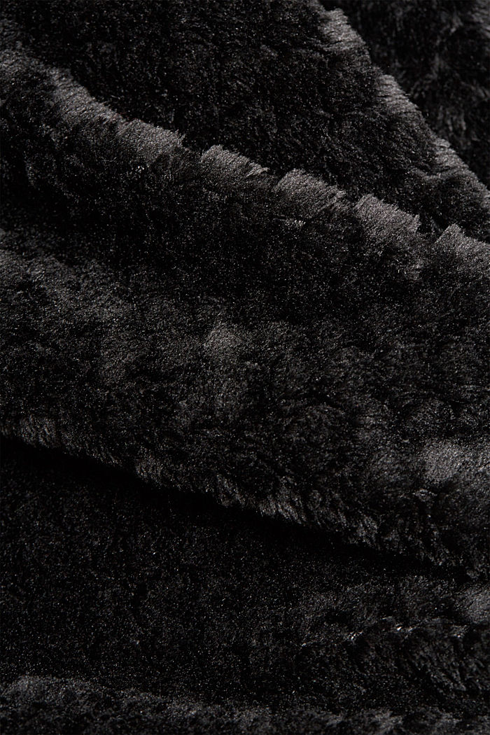 Soft lounge trousers made of textured plush, BLACK, detail image number 4