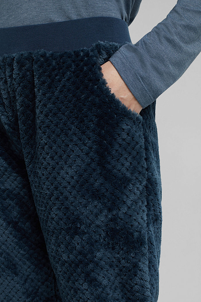 Soft lounge trousers made of textured plush, INK, detail image number 2