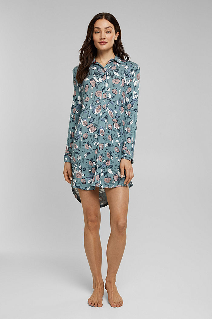Nightshirt with LENZING™ ECOVERO™, TEAL GREEN, detail image number 0