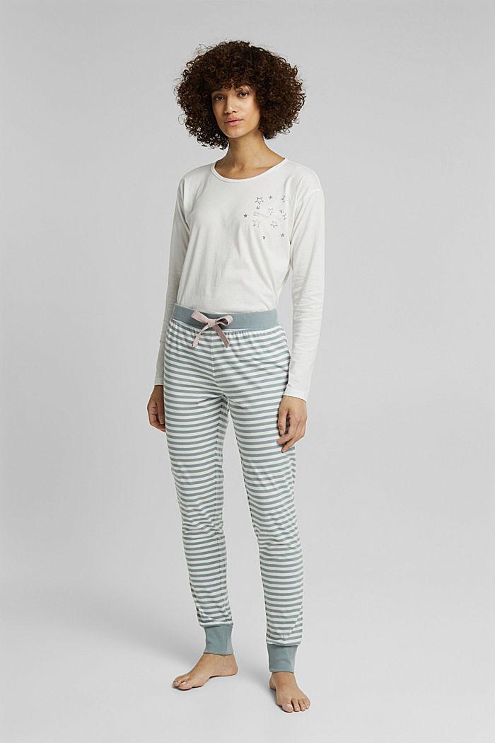 Pyjama bottoms in 100% organic cotton, OFF WHITE, detail image number 1