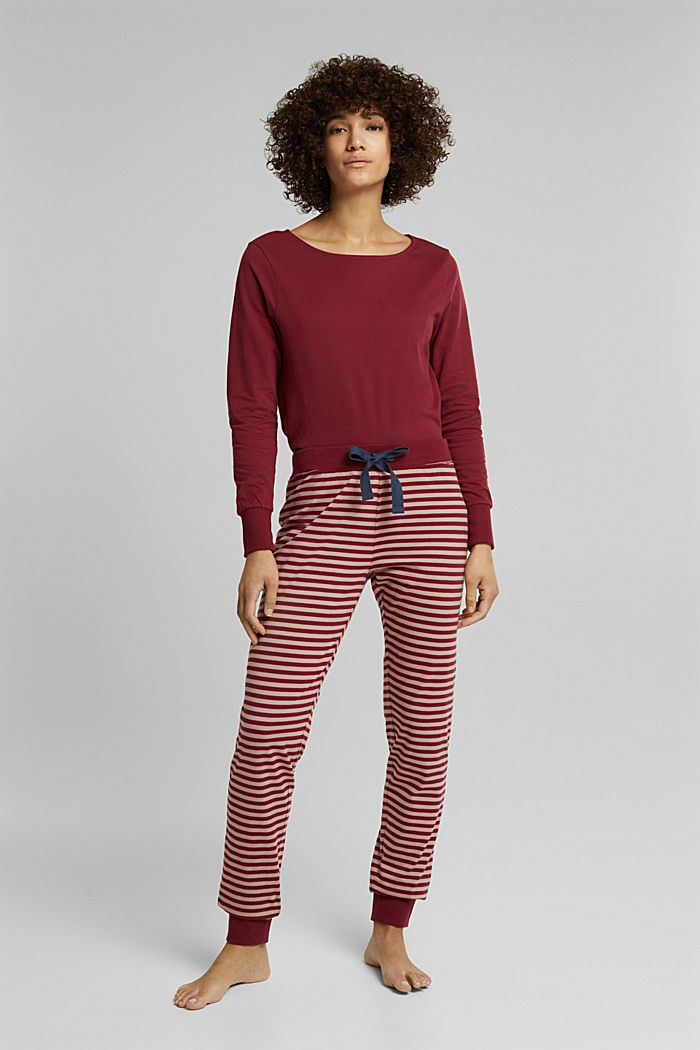 Pyjama-Hose aus 100% Organic Cotton, DARK RED, detail image number 1