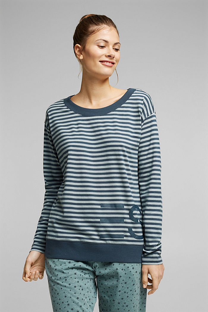 Mix + Match long sleeve top made of 100% organic cotton, TEAL GREEN, detail image number 1
