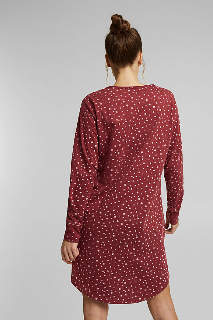 Jersey nightshirt with an all-over print, DARK RED, detail image number 1