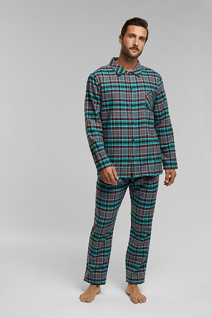 flannel pyjamas made of 100% organic cotton, ANTHRACITE, overview