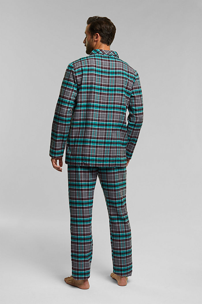 flannel pyjamas made of 100% organic cotton, ANTHRACITE, detail image number 1
