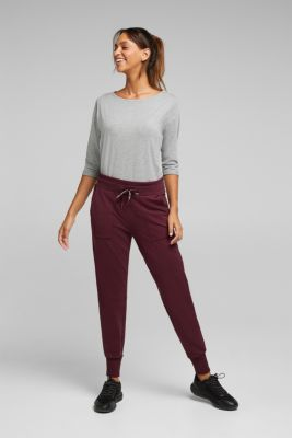 Tracksuit bottoms with organic cotton, BORDEAUX RED, detail