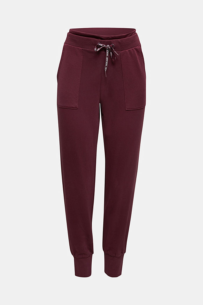Tracksuit bottoms with organic cotton, BORDEAUX RED, detail image number 5