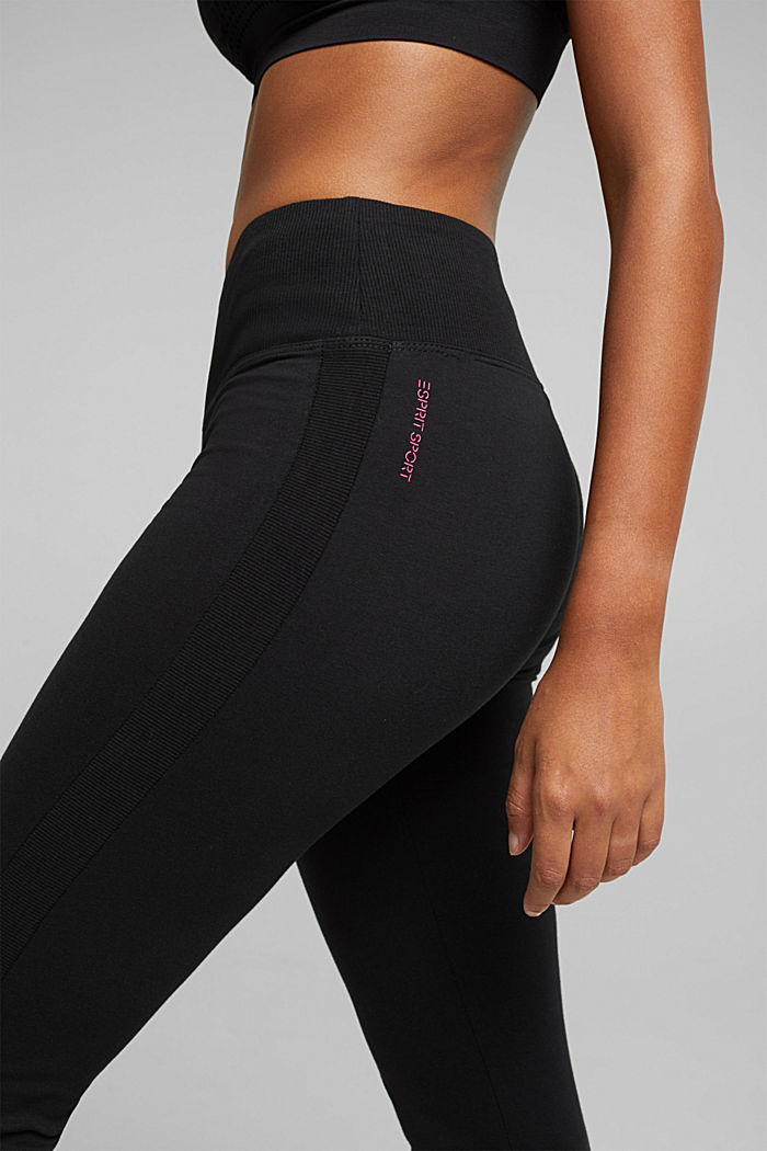 Active leggings in organic cotton, BLACK, detail image number 2