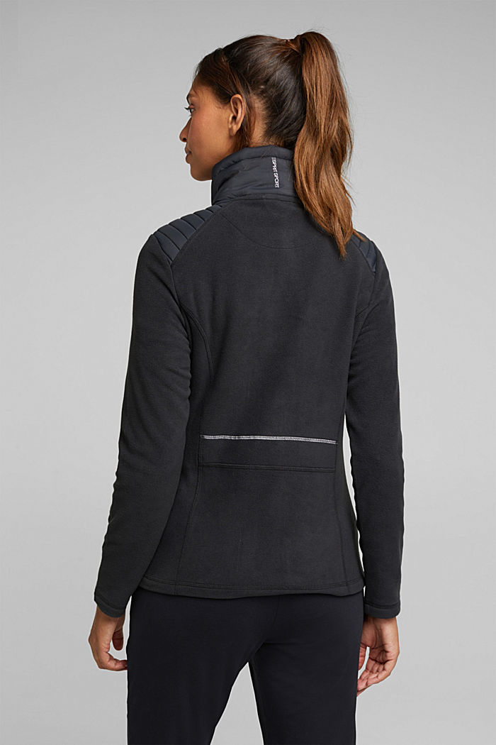 Fleece jacket with quilted details, ANTHRACITE, detail image number 3