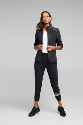 Fleece jacket with quilted details, BLACK, detail
