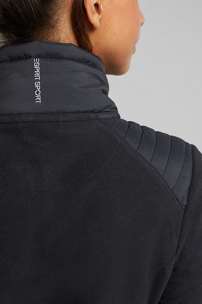 Fleece jacket with quilted details, ANTHRACITE, detail image number 2