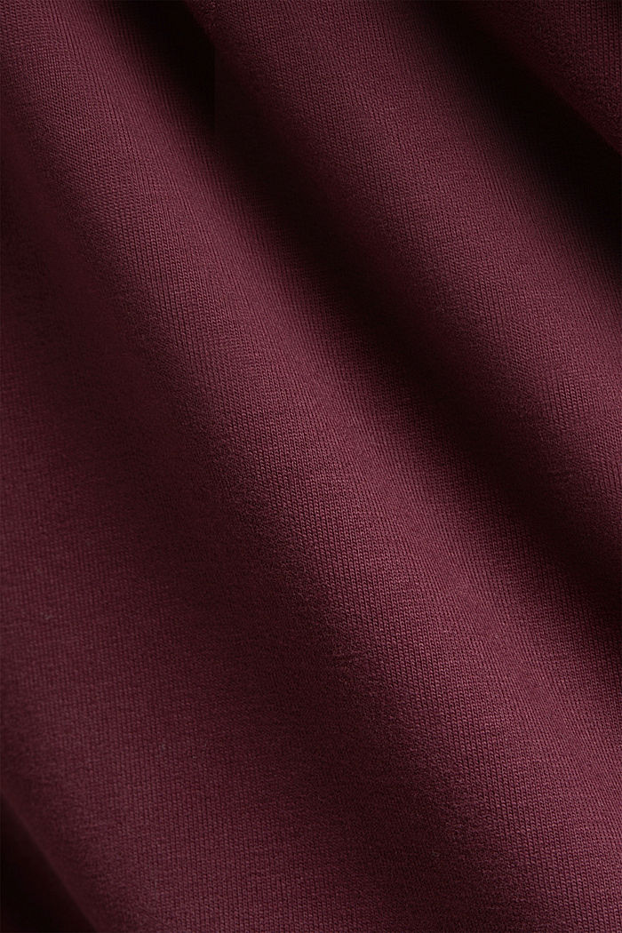 Sweatshirt cardigan made of organic cotton, BORDEAUX RED, detail image number 4