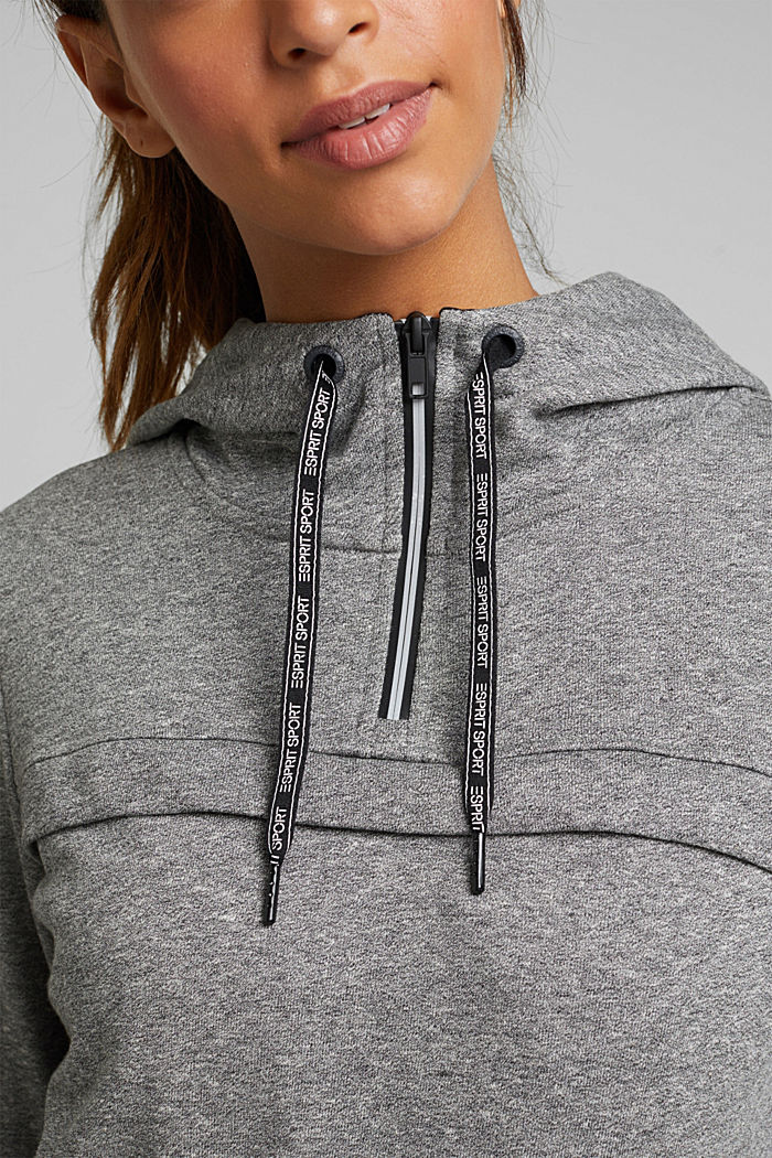 Hooded sweatshirt with organic cotton, MEDIUM GREY, detail image number 2