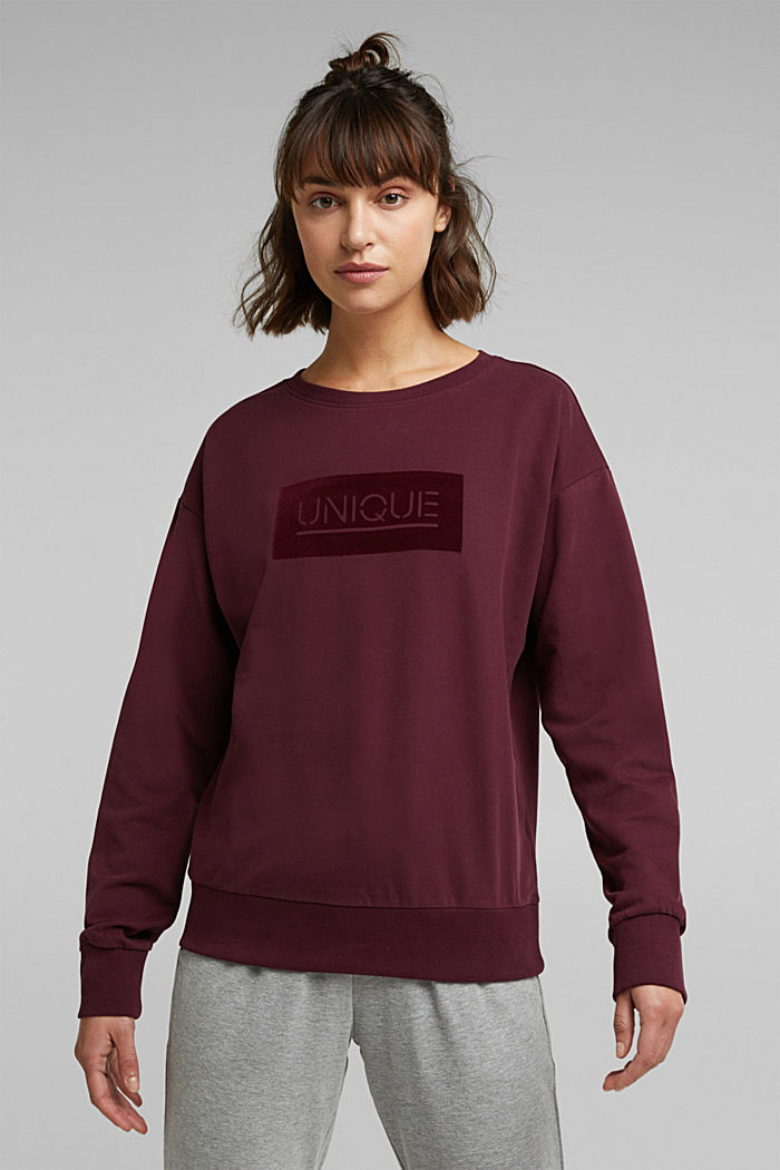 Printed sweatshirt made of organic cotton, BORDEAUX RED, detail image number 0