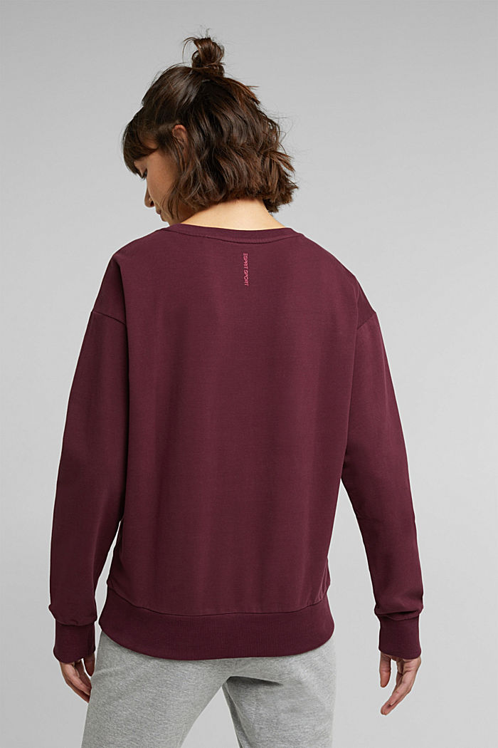 Printed sweatshirt made of organic cotton, BORDEAUX RED, detail image number 3