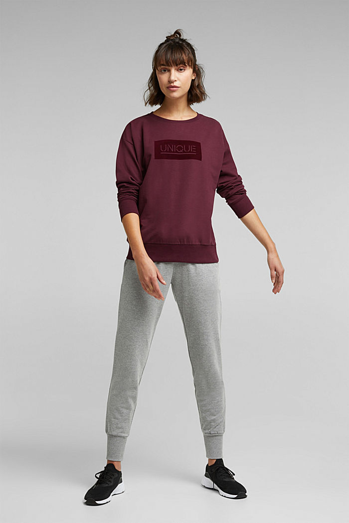 Printed sweatshirt made of organic cotton, BORDEAUX RED, detail image number 1