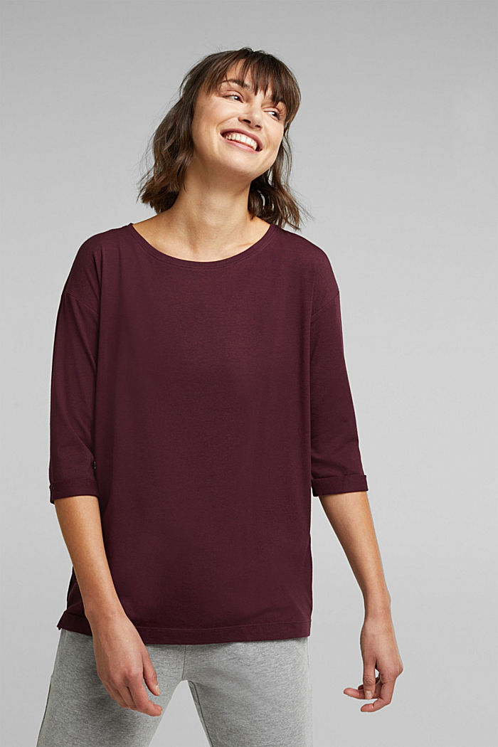 long sleeve top with organic cotton, BORDEAUX RED, overview