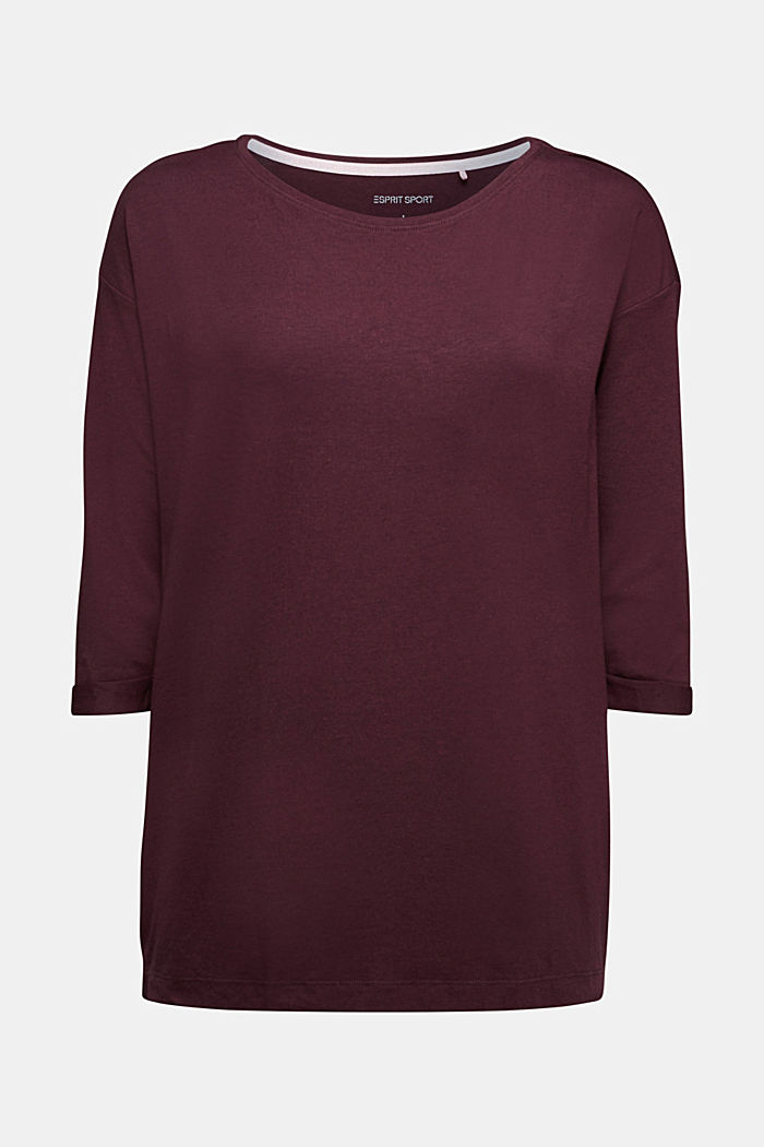 long sleeve top with organic cotton, BORDEAUX RED, detail image number 5