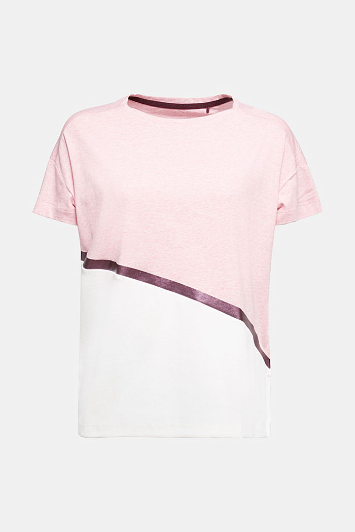 Activewear T-shirt containing organic cotton, LIGHT PINK, overview