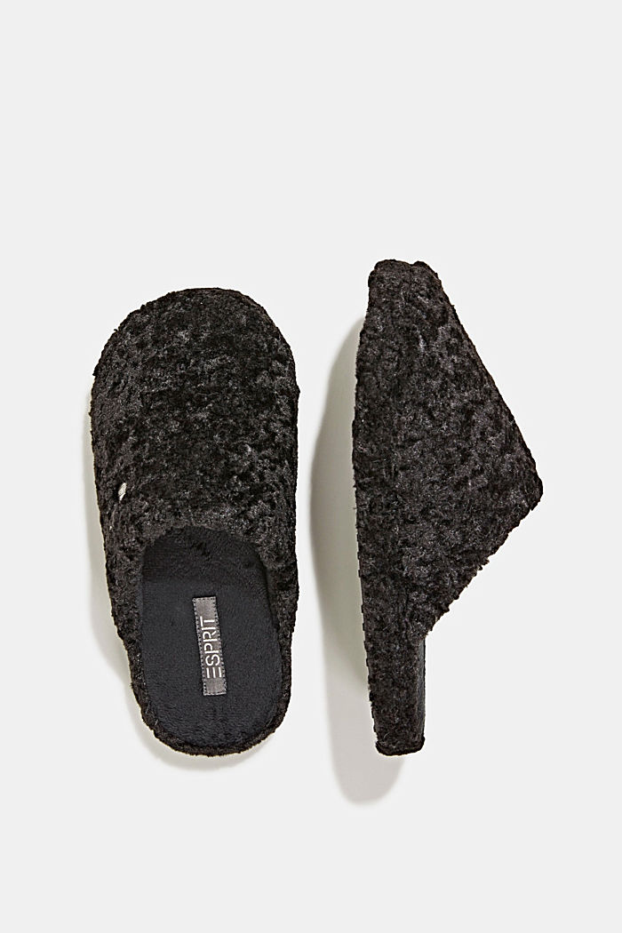 Slippers in teddy plush, BLACK, detail image number 1