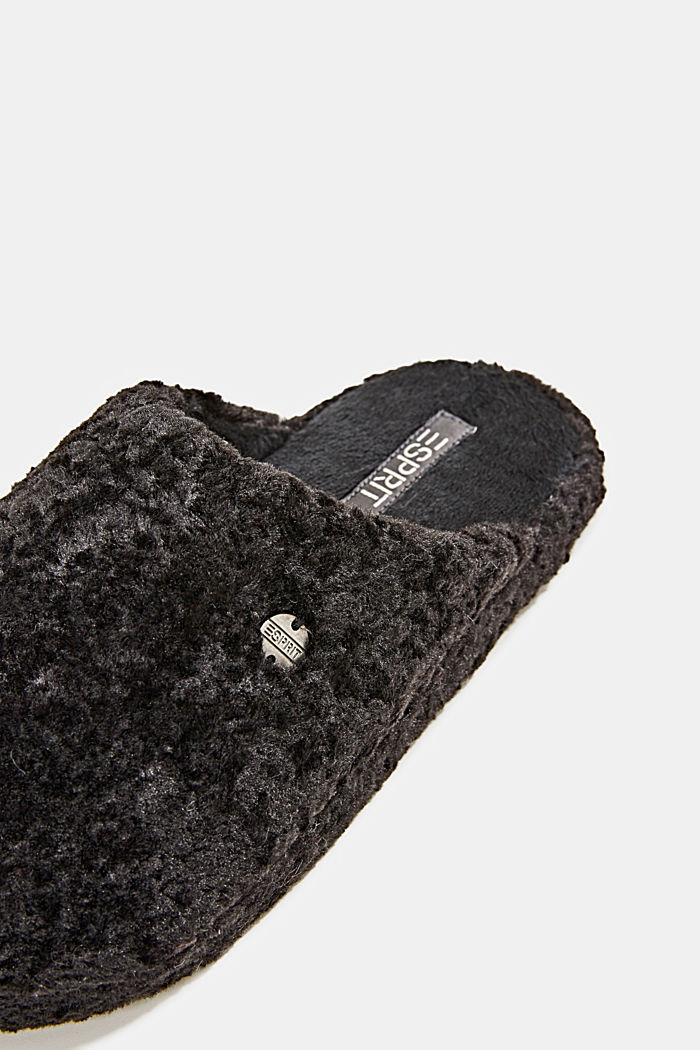 Slippers in teddy plush, BLACK, detail image number 3
