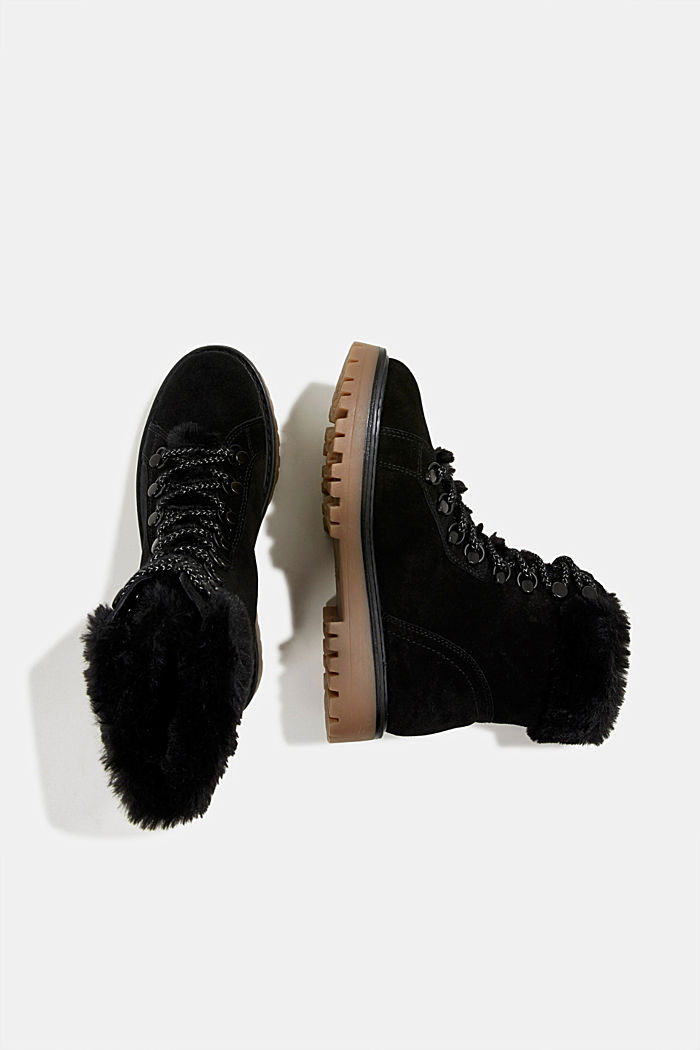 Lace-up boots made of leather with fur lining, BLACK, detail image number 1