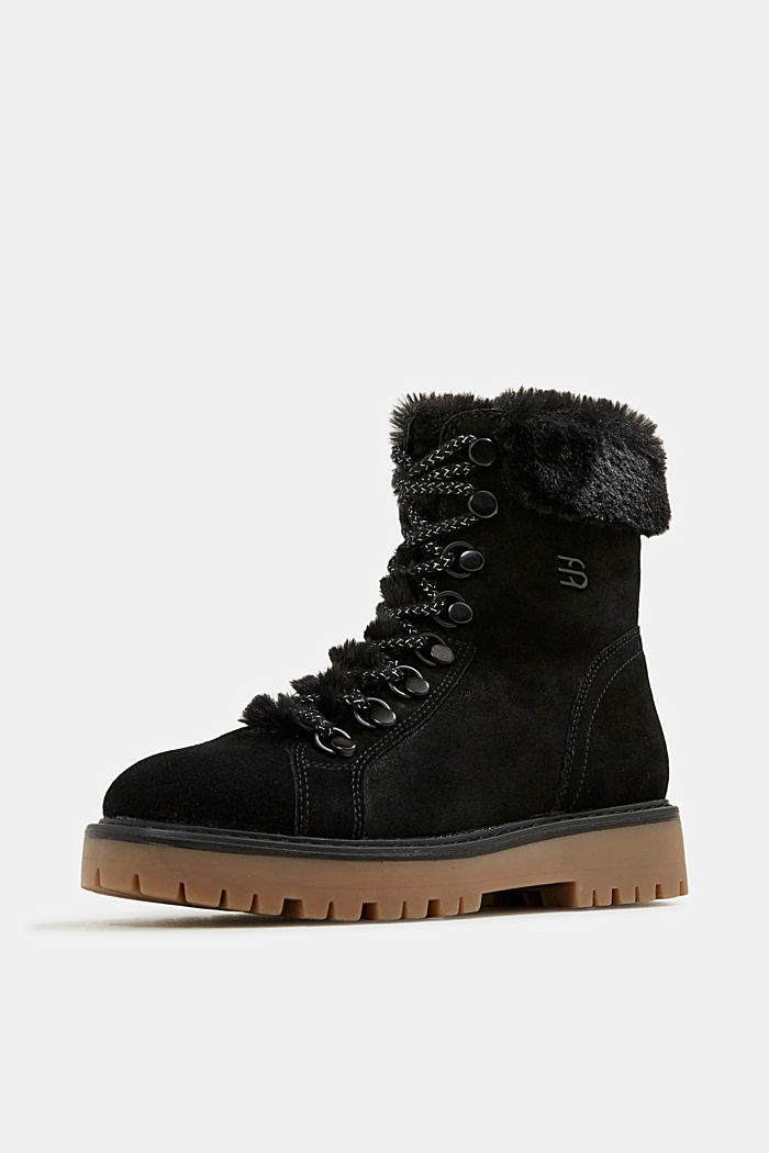 Lace-up boots made of leather with fur lining, BLACK, detail image number 2