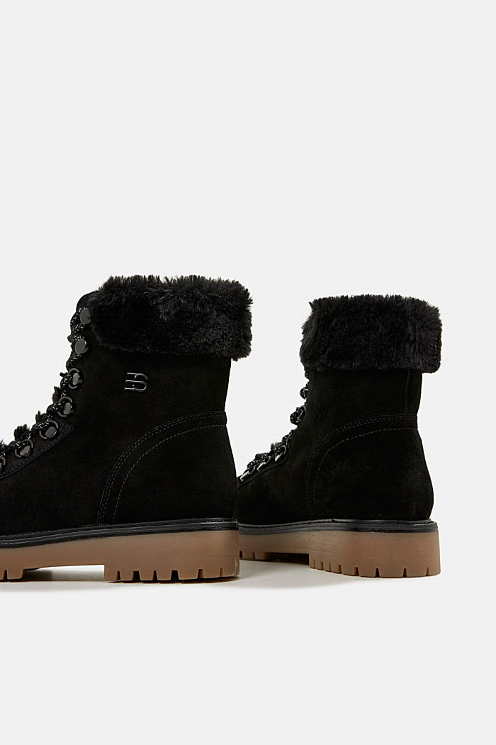 Lace-up boots made of leather with fur lining, BLACK, detail image number 5