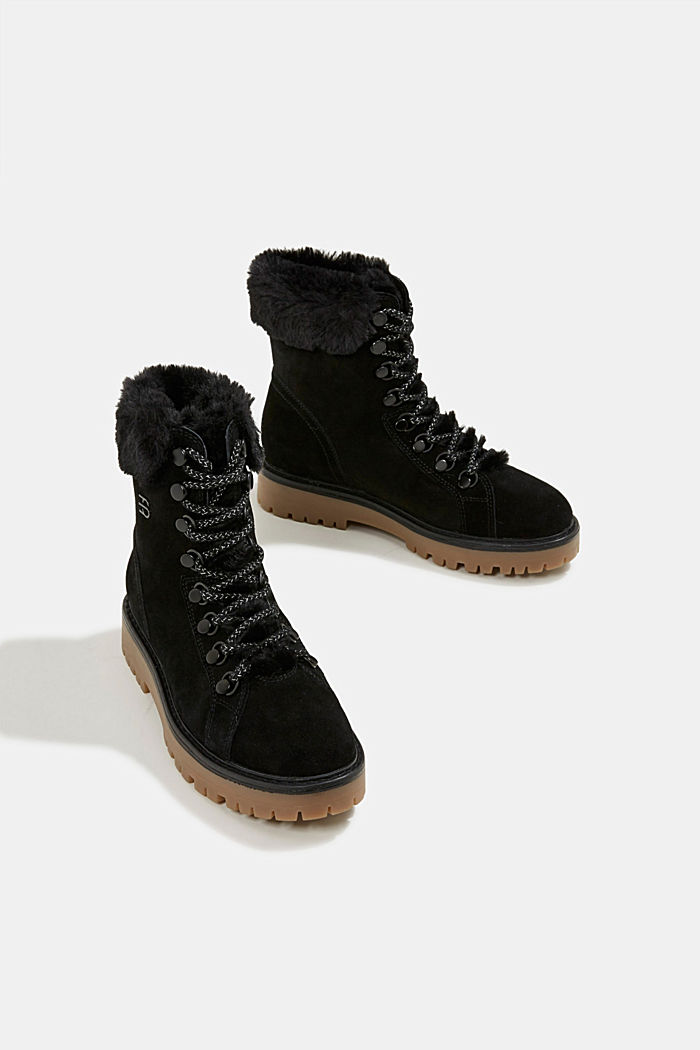 Lace-up boots made of leather with fur lining, BLACK, detail image number 6