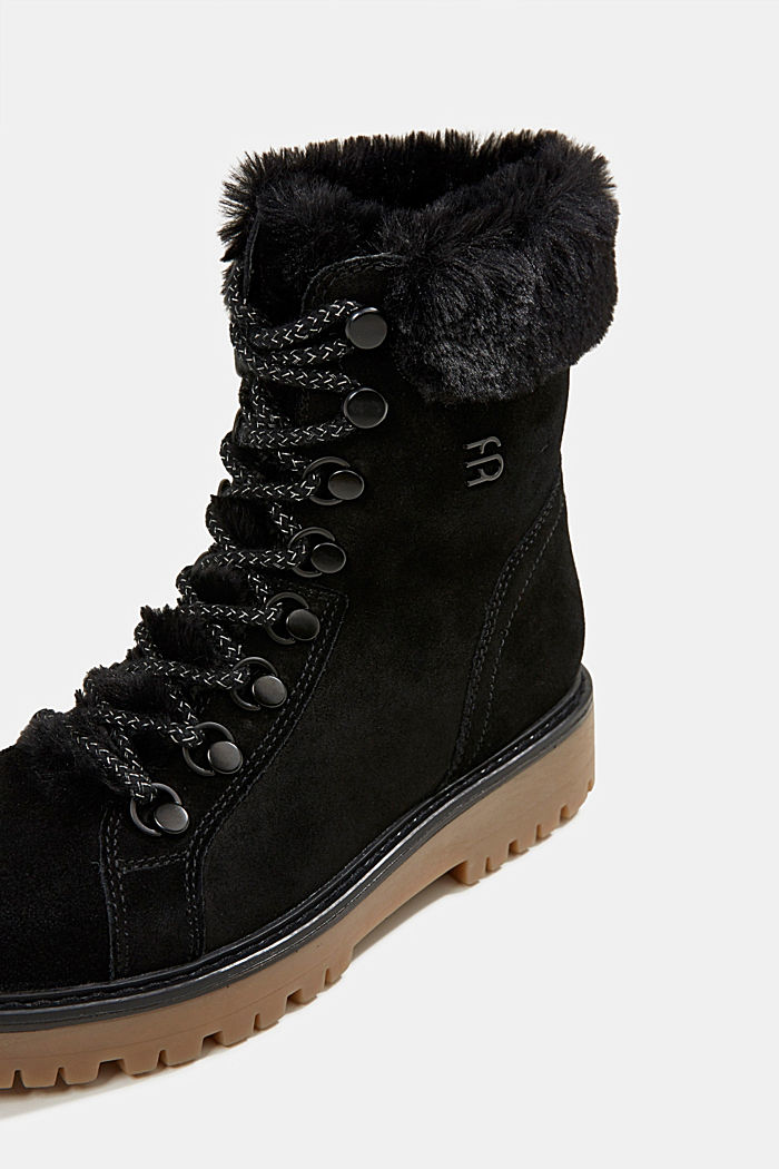 Lace-up boots made of leather with fur lining, BLACK, detail image number 4