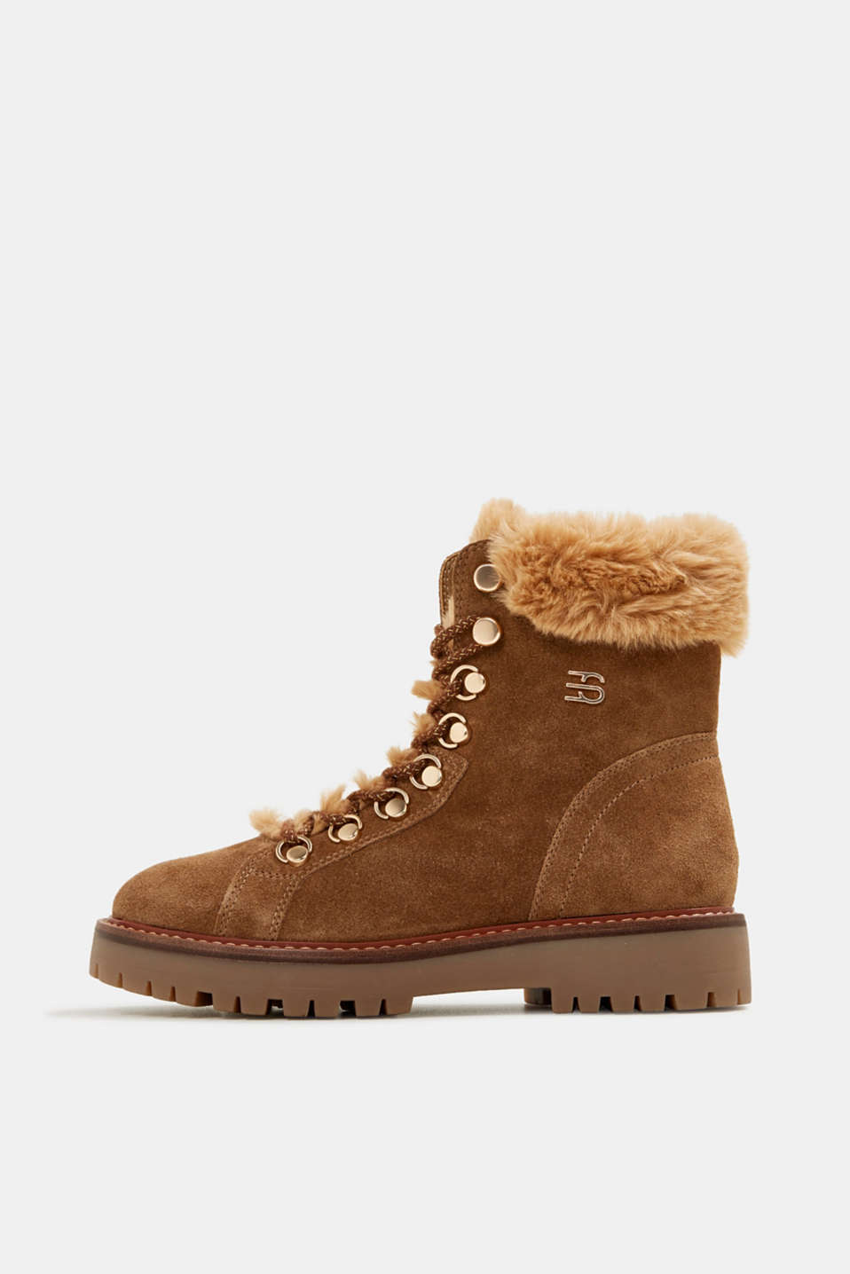 Esprit - Lace-up boots made of leather with fur lining