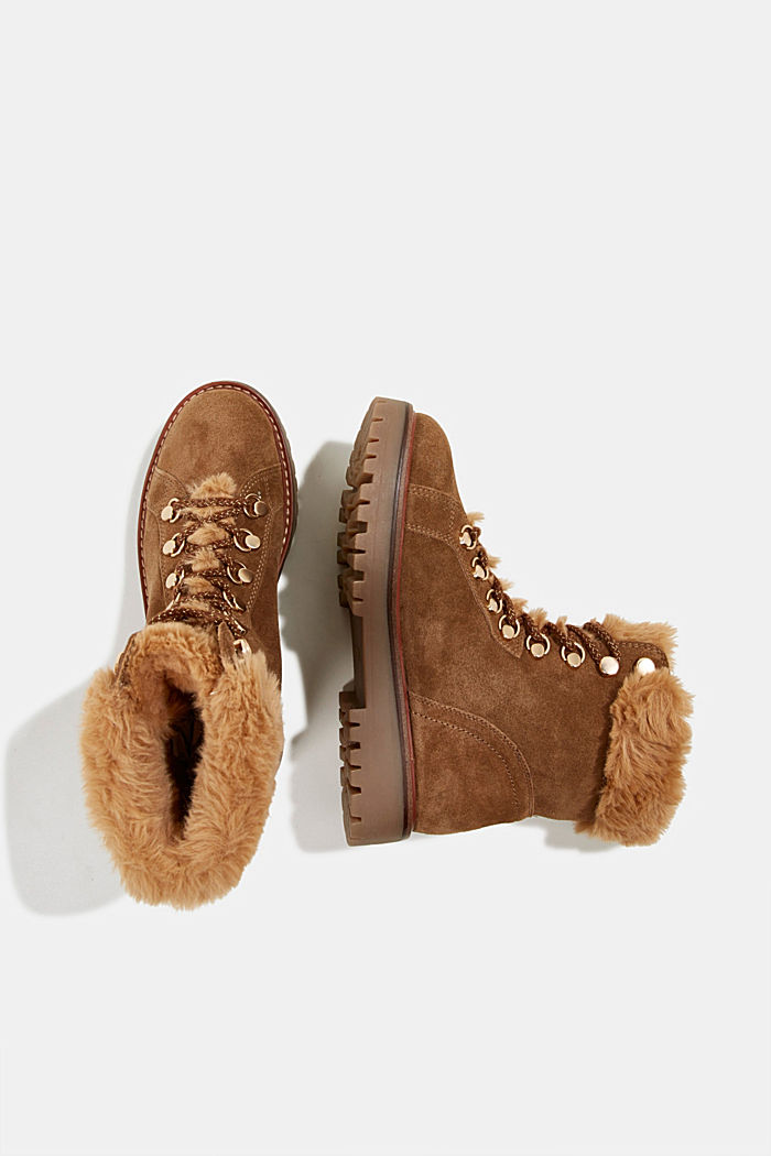 Lace-up boots made of leather with fur lining, CAMEL, detail image number 1