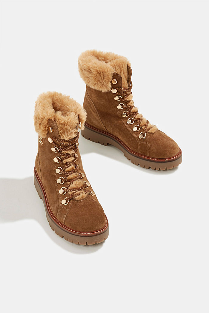 Lace-up boots made of leather with fur lining, CAMEL, detail image number 6