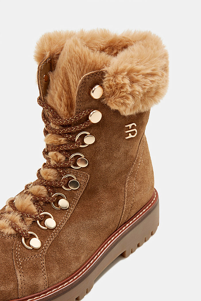 Lace-up boots made of leather with fur lining, CAMEL, detail image number 4