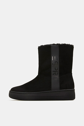 Faux leather ankle boots with faux fur lining