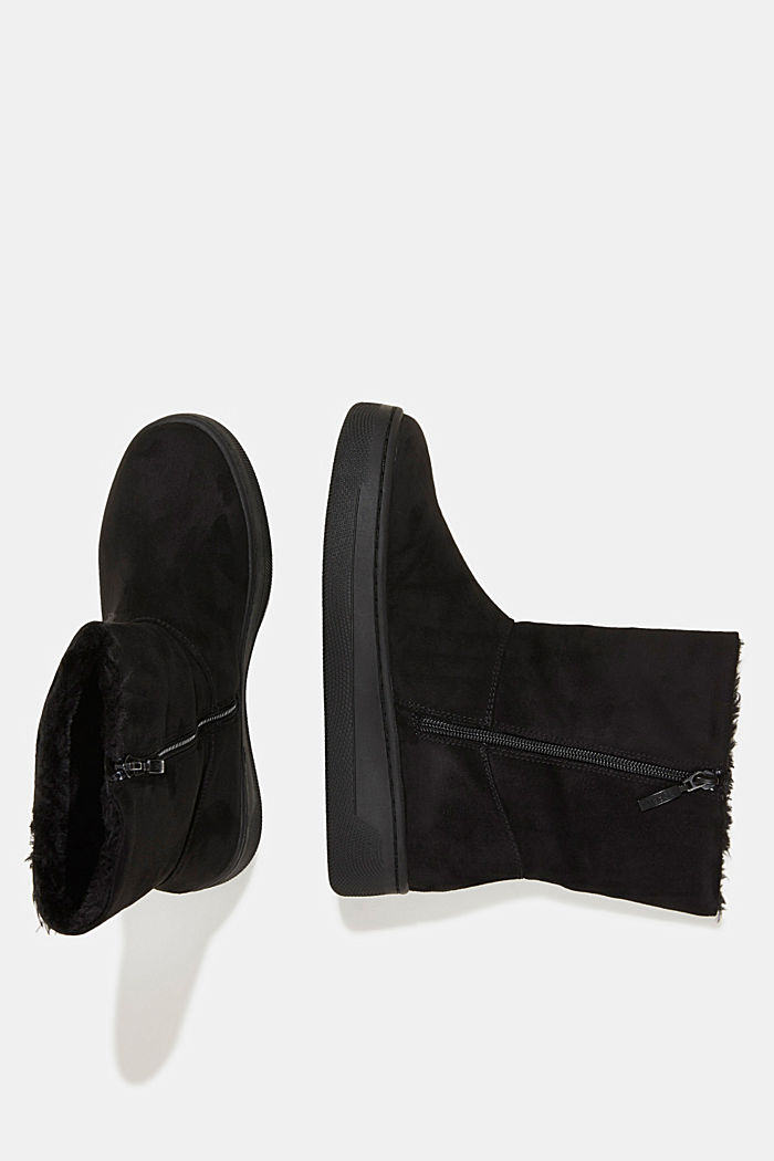 Faux leather ankle boots with faux fur lining, BLACK, detail image number 1