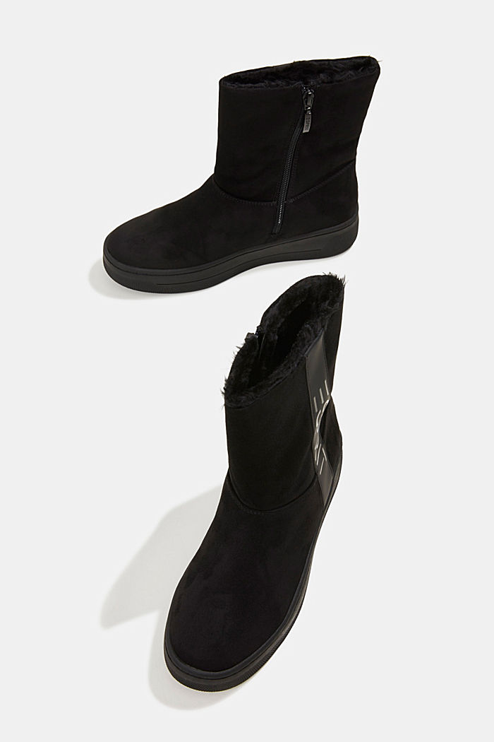 Faux leather ankle boots with faux fur lining, BLACK, detail image number 6