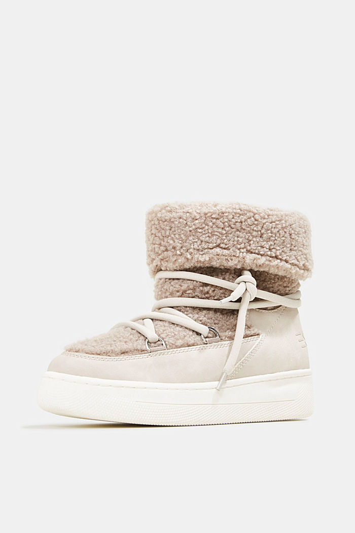 Faux sheepskin snow boots, CREAM BEIGE, detail image number 2