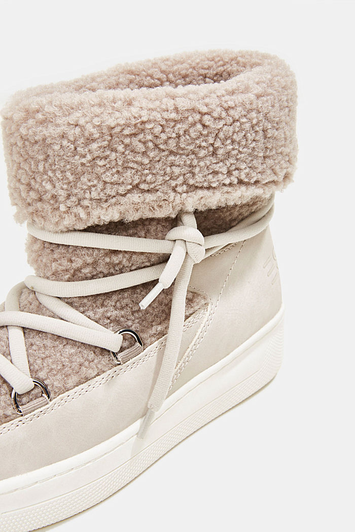 Faux sheepskin snow boots, CREAM BEIGE, detail image number 4