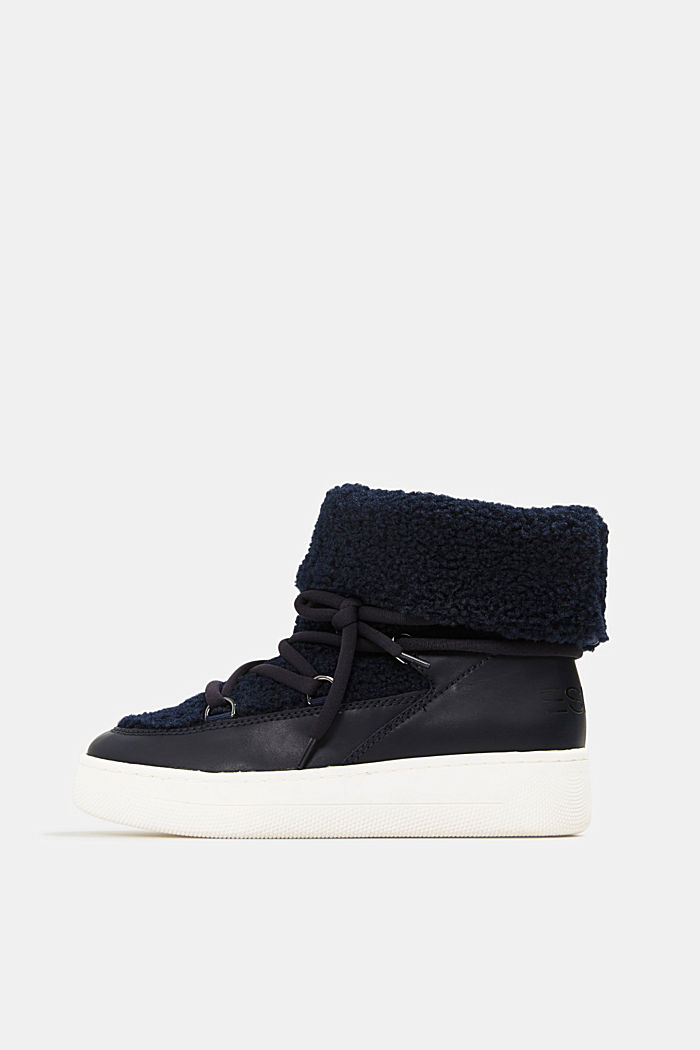 Faux sheepskin snow boots, NAVY, detail image number 0