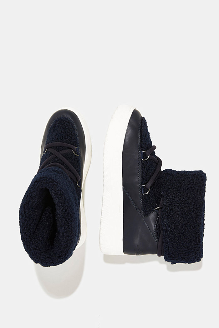 Faux sheepskin snow boots, NAVY, detail image number 1