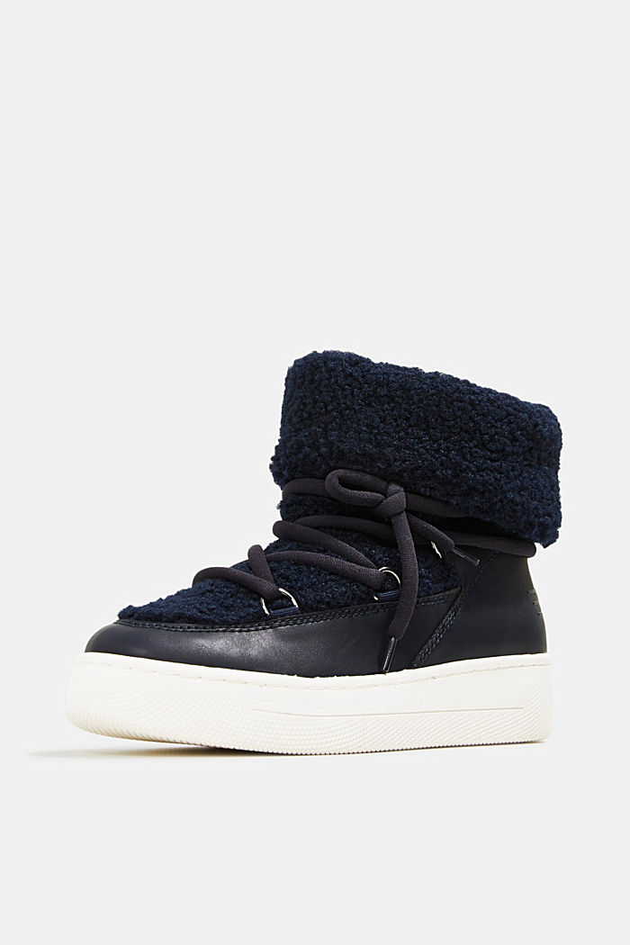 Faux sheepskin snow boots, NAVY, detail image number 2
