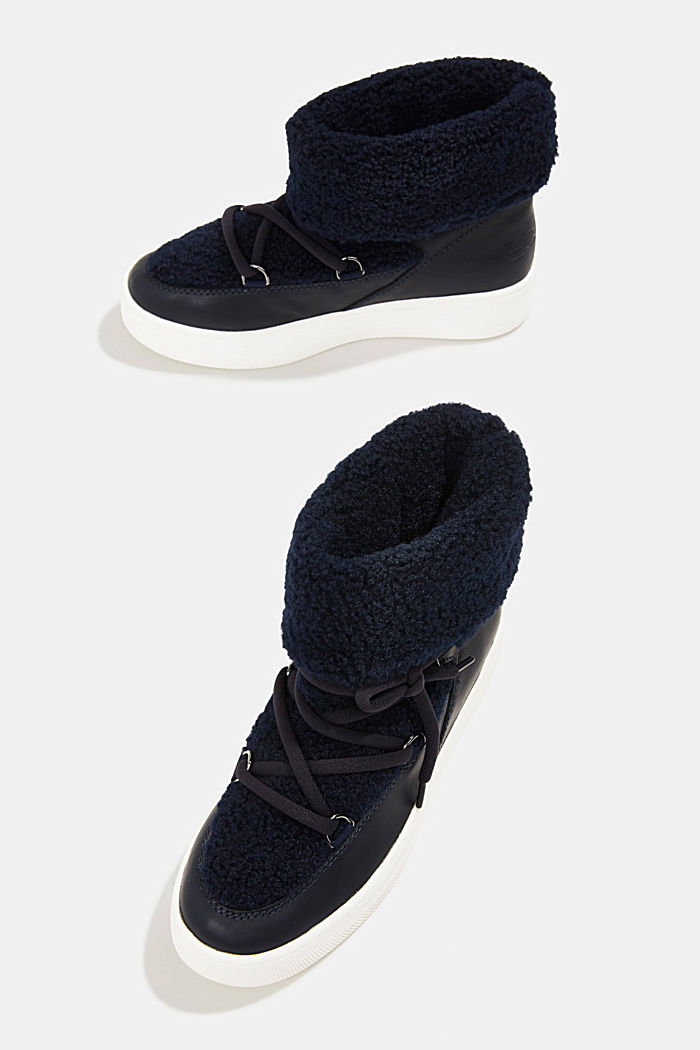 Faux sheepskin snow boots, NAVY, detail image number 6