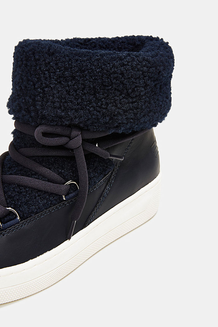 Faux sheepskin snow boots, NAVY, detail image number 4